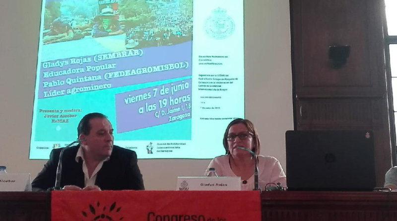 Gladys Rojas y Pablo de Jesús Santiago muestran en Zaragoza el estado de los acuerdos de paz en Colombia AraInfo