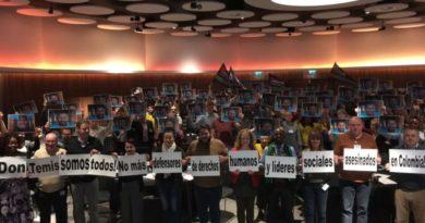 Sindicato de servicios públicos inglés se solidariza con líderes y lideresas
