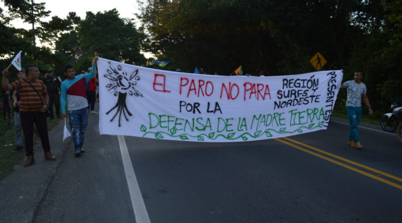 Comunidades campesinas que se unieron al Paro Nacional en La Lizama
